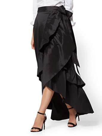 NY C  Black Ruffled Taffeta Maxi Skirt 90d64b2fcdd