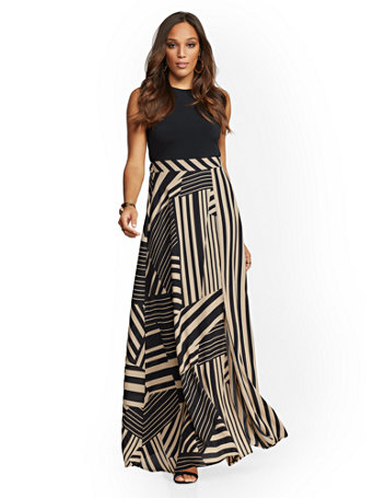 Black & Tan Stripe Maxi Dress by New York & Company