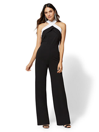Black & White Halter V Neck Jumpsuit by New York & Company