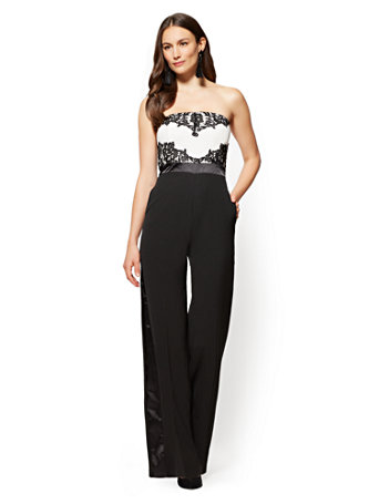 b918729786f NY C  Black   White Lace-Overlay Strapless Jumpsuit
