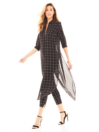 Black Windowpane Check Hi Lo Tunic Shirt by New York & Company