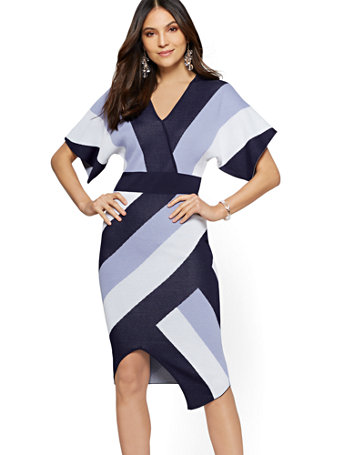 Blue Stripe Wrap Sweater Dress by New York & Company