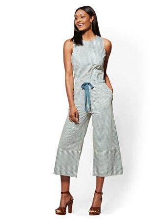 4a9e3f630a5 NY C  Blue Striped Culotte Jumpsuit