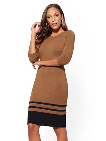 Border Stripe Sweater Sheath Dress