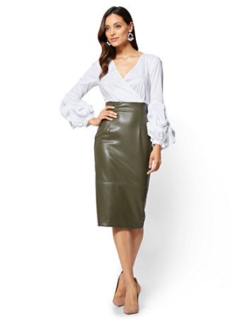 Ny Amp C Bubble Sleeve Faux Leather Dress