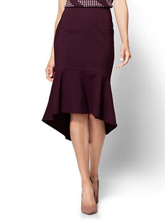 Ny Amp C Burgundy Ruffled Fit And Flare Skirt All Season