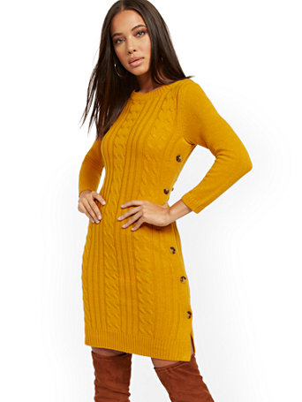 Button Accent Cable Knit Sweater Dress by New York & Company
