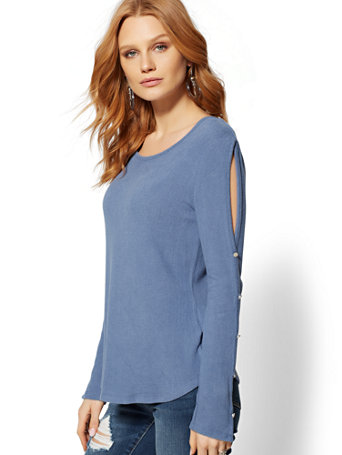 Button Accent Hacci Knit Top by New York & Company