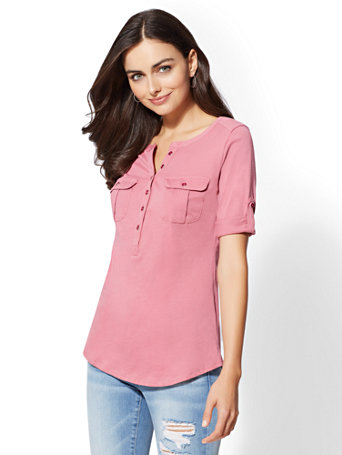 Button Accent Henley Top by New York & Company