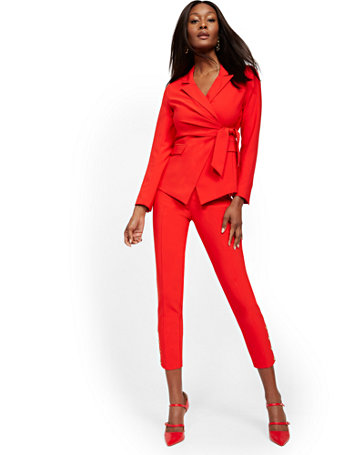NY&Co Women's Button-Accent Straight Slim-Leg Ankle Pants - 7th Avenue Red Harbor