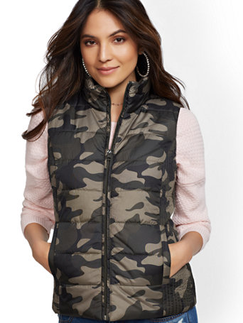 Camo Print Puffer Vest by New York & Company