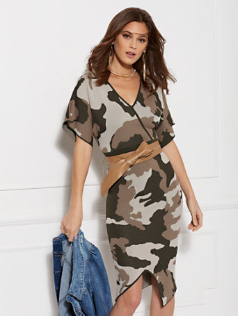 Camo Print Wrap Sweater Dress by New York & Company