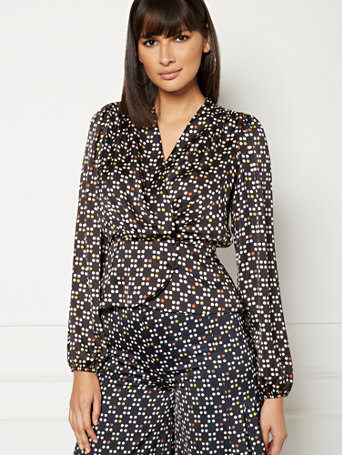 Charlotte Black Dot Print Blouse   Eva Mendes Collection by New York & Company