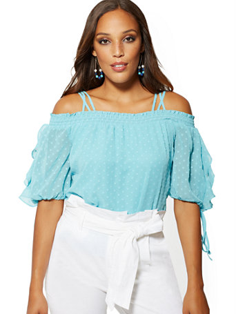 Clip Dot Cold Shoulder Blouse   7th Avenue by New York & Company