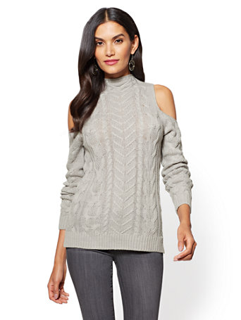 ec65166414f67f NY C  Cold-Shoulder Cable-Knit Tunic Sweater