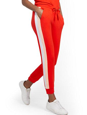NY&Co Women's Colorblock Capri Jogger Pants Red Harbor