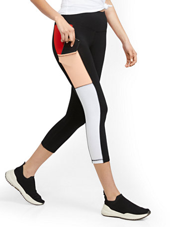 NY&Co Women's Colorblock High-Waisted Capri Pocket Legging Pants Black