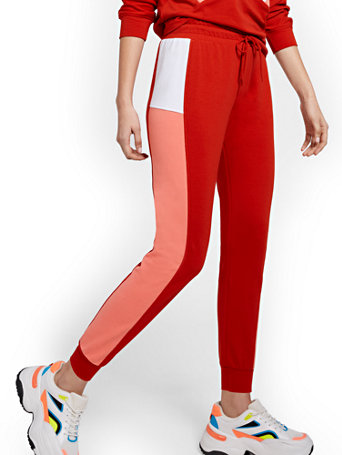 NY&Co Women's Colorblock Jogger Pants Stoplight Red