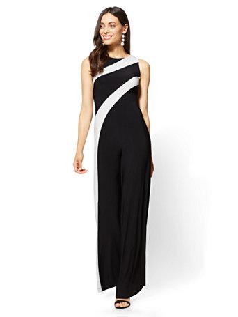 bda649ec00f3 NY C  Colorblock Jumpsuit - Black White