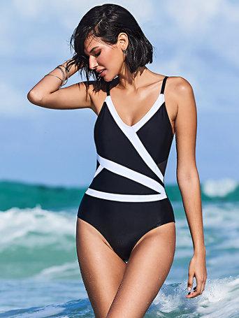 4c1ff1f15ad NY&C: Colorblock Mesh Cutout One-Piece Swimsuit - NY&C Swimwear
