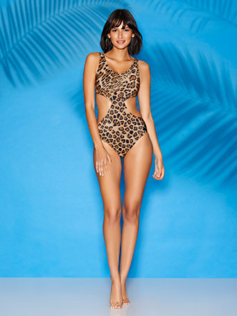 Cristi Leopard Print Cutout One Piece Swimsuit   Sweet Pea Swimwear by New York & Company