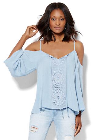 21662cd58 NY C  Crochet-Panel Cold-Shoulder Blouse