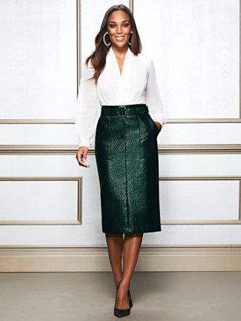 fd8dbdb490e3 NY&C: Dark Green Glenda Pencil Skirt - Eva Mendes Collection