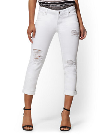 Destroyed Crop Boyfriend Jeans - White - Soho Jeans