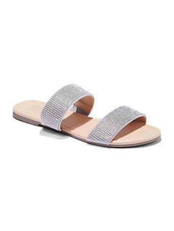 NY\u0026C: Double-Strap Glitter Slide Sandals