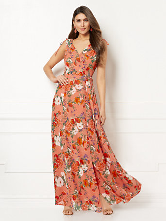Ny Amp C Eva Mendes Collection Allegra Floral Wrap Maxi Dress