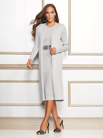 Eva Mendes Collection   Carly Metallic Duster Cardigan by New York & Company