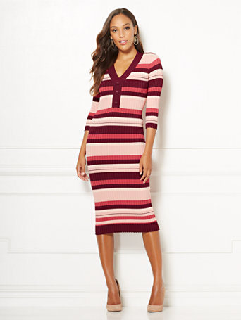 Eva Mendes Collection - Cherelle Stripe Sweater Dress
