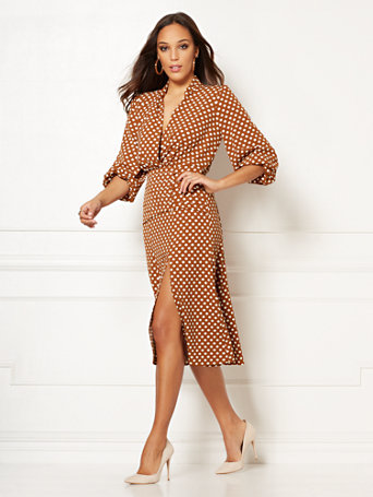 Eva Mendes Collection   Debra Polka Dot Flare Dress by New York & Company