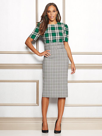 Eva Mendes Collection   Deja Plaid Pencil Skirt by New York & Company