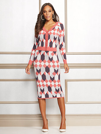 Eva Mendes Collection   Geo Print Kelli Sweater Skirt by New York & Company