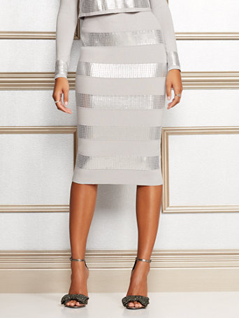 Eva Mendes Collection   Jacqui Sequin Sweater Skirt by New York & Company