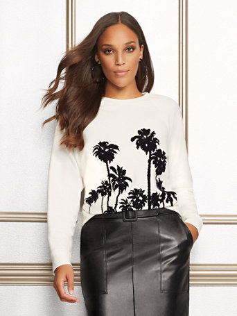 "<A Href=""/Eva Mendes Collection Palm Tree Graphic Sweatshirt/A Prod15590023/?An=3455744724"">Eva Mendes Collection   Palm Tree Graphic Sweatshirt</A> by New York & Company"