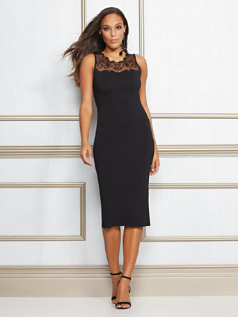 Eva Mendes Collection   Roxanne Lace Trim Sheath Dress by New York & Company