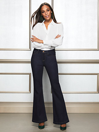 Eva Mendes Collection   Tall Leigh Flare Jean by New York & Company