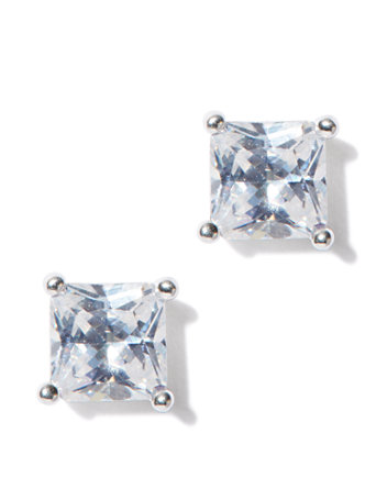 Faceted Geo Earring For an instant touch of glitz, these faceted-stone stud earrings - featured in a square design - wake up your wardrobe with simple, modern shine.   overview   Post backing.  Mixed metal, cubic zirconia.  Domestic.