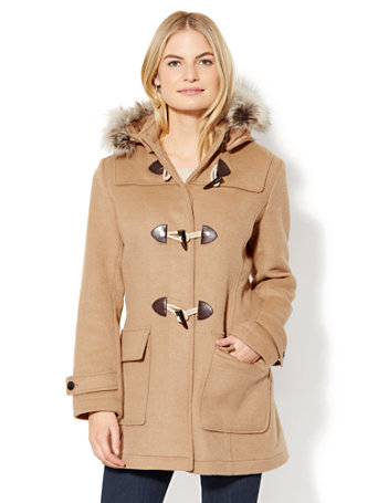 Faux-Fur Wool-Blend Toggle Coat