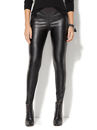 4699851d2bf83 NY&C: Faux Leather-Front High-Waist Legging - Ponte- Soho Jeans