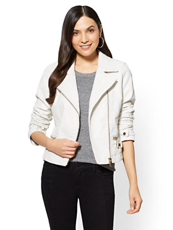 4b97f8ad NY&C: Faux-Leather Moto Jacket - White