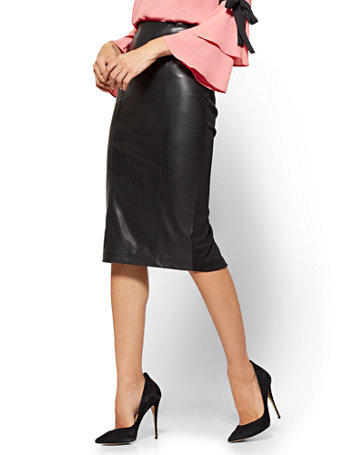 factory outlet classic chic website for discount Faux-Leather & Ponte Pull-On Skirt - 7th Avenue - New York & Company