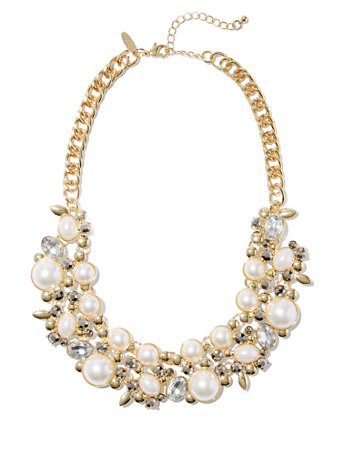 7e8ac173c9d50 Faux-Pearl Cluster Necklace - New York & Company