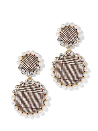 Faux Pearl Plaid Drop Earring by New York & Company