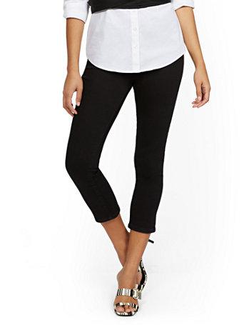 NY&Co Women's Feel-Good High-Waisted No Gap Pull-On Super-Skinny Capri Jeans - Black