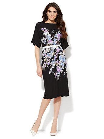 6ea7440d6 NY C  Floral Ballet-Neck Dress
