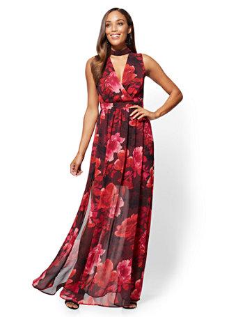 NY&C: Floral Choker Maxi Dress