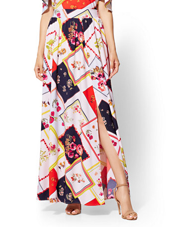 f391392888 NY&C: Floral Pull-On Maxi Skirt - 7th Avenue